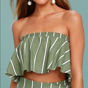 Faithfull the Brand green and white striped top